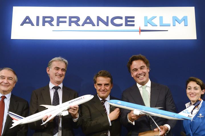 'De topmannen van Air France-KLM voor aanvang van de presentatie van de halfjaarcijfers 2013'