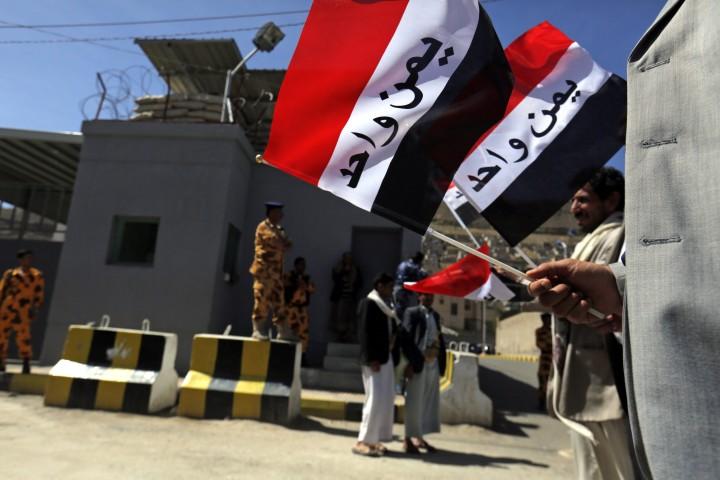 Een protest tegen de Saudische acties in Jemen - bron: AFP