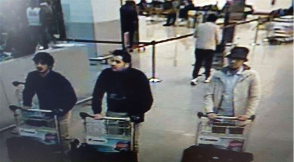 "TOPSHOT - A picture released on March 22, 2016 by the belgian federal police on demand of the Federal prosecutor shows a screengrab of the airport CCTV camera showing suspects of this morning's attacks at Brussels Airport, in Zaventem. Two explosions in the departure hall of Brussels Airport this morning took the lives of 14 people, 81 got injured. Government sources speak of a terrorist attack. The terrorist threat level has been heightened to four across the country. / AFP PHOTO / BELGIAN FEDERAL POLICE / - / RESTRICTED TO EDITORIAL USE - MANDATORY CREDIT ""AFP PHOTO / BELGIAN FEDERAL POLICE"" - NO MARKETING NO ADVERTISING CAMPAIGNS - DISTRIBUTED AS A SERVICE TO CLIENTS"