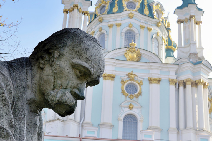 Taras Shevchenko monument, Saint Andrew´s Church, Andrews Descent, Podil, Kiev, Ukraine.