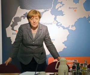 2016-04-15 00:00:00 epa05260614 German Chancellor Angela Merkel arrives to speak about her refugee politics, in Grimmen, Germany, 15 April 2016. The local branch of her ruling Christian Democrats (CDU) party sent a letter to Merkel at the end of 2015 concerning fears towards the integration of refugees. EPA/BERND WUESTNECK