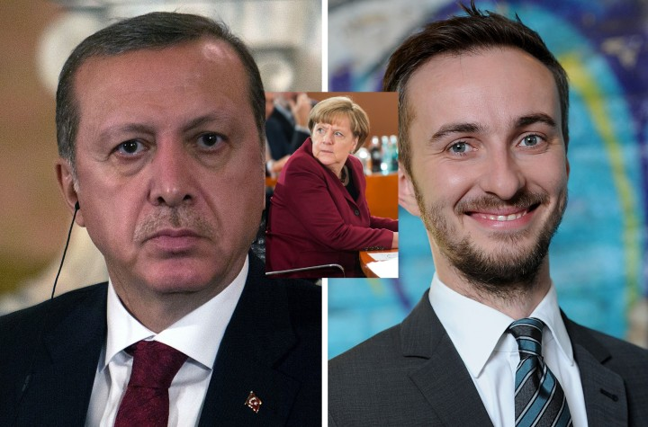 2016-04-15 14:57:04 (FILES) This combo made with file pictures shows Turkish President Recep Tayyip Erdogan (L) in Lima on February 2, 2016 and German TV comedian Jan Böhmermann on February 22, 2012 in Berlin. German Chancellor Angela Merkel on April 15, 2016 authorised a Turkish demand for criminal proceedings against Boehmermann over a crude satirical poem about President Recep Tayyip Erdogan in a bitter row over free speech. / AFP PHOTO / dpa AND AFP PHOTO / Britta PEDERSEN AND SEBASTIAN CASTAÑEDA / Germany OUT