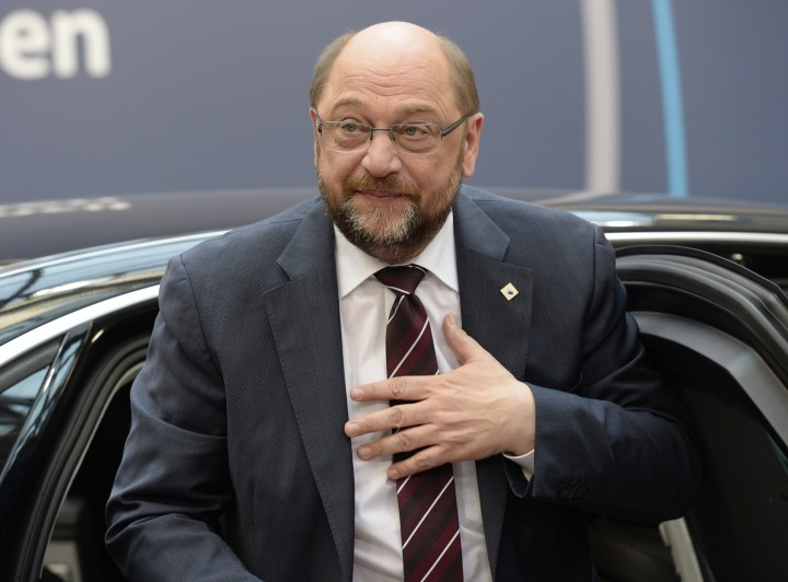 2016-03-17 15:34:13 European Parliament President Martin Schulz arrives for the European Union summit in Brussels on March 17, 2016, where 28 EU leaders will discuss the ongoing refugee crisis. AFP PHOTO / THIERRY CHARLIER