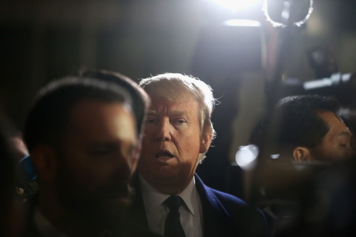 2016-03-21 00:00:00 WASHINGTON, DC - MARCH 21: Republican presidential candidate Donald Trump gives the media a tour of the Trump International Hotel that is currently under construction March 21, 2016 in Washington, DC. Trump is expected to appear before the country's biggest pro-Israel lobby at the American Israel Public Affairs Committee later tonight. Mark Wilson/Getty Images/AFP == FOR NEWSPAPERS, INTERNET, TELCOS & TELEVISION USE ONLY ==