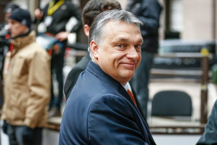 2016-03-18 11:59:31 epa05218322 Hungarian Prime Minister Viktor Orban arrives for a meeting during a two-days European Union leaders summit in Brussels, Belgium, 18 March 2016. Turkish PM Davutoglu attended a breakfast meeting as EU leaders on 17 and 18 March are discussing a deal with Turkey that is aimed at tackling the migration crisis and curb migration into the bloc. EPA/LAURENT DUBRULE