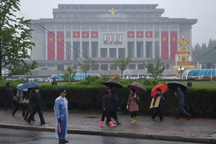 """The April 25 Palace, venue of the Workers' Party Congress, is seen ahead of the event in Pyongyang on May 6, 2016. North Korea will on May 6 launch its highest-level ruling party meeting in almost 40 years, with delegates set to heap praise on its nuclear arsenal as a """"precious sword"""" amid fears of a fresh atomic test. / AFP PHOTO / Ed Jones"""