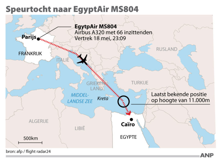2016-05-19 08:18:49 Speurtocht naar vermiste Airbus A320 EgyptAir MS804. FORMAAT: 100 x 70 mm. ANP INFOGRAPHICS