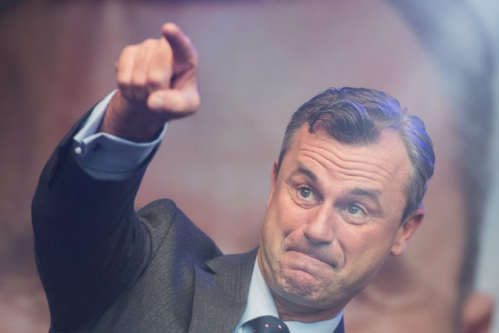 2016-05-20 20:18:13 epaselect epa05319701 Right-wing Austrian Freedom Party (FPOe) presidential candidate Norbert Hofer holds a speech during his final election campaign rally at the Viktor Adler Markt in Vienna, Austria, 20 May 2016. Hofer secured 35 percent of total votes in the first round and will go head to head in the run-offs against Alexander Van der Bellen, supported by the Green Party, on 22 May 2016. EPA/CHRISTIAN BRUNA