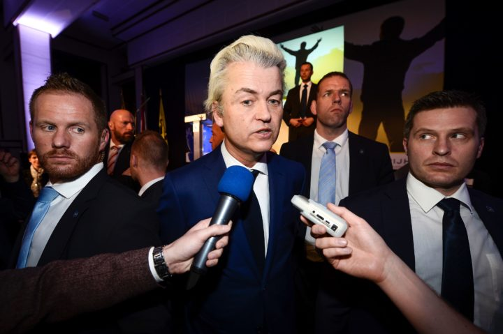 "2016-03-04 21:05:17 Dutch far-right Freedom Party leader Geert Wilders talks to the press during a party convention of the Flemish far-right party Vlaams Belang, entitled ""Protecting our Freedom!"" (Onze vrijheden verdedigen) on March 4, 2016, in Brussels. / AFP / Belga / DIRK WAEM / Belgium OUT"