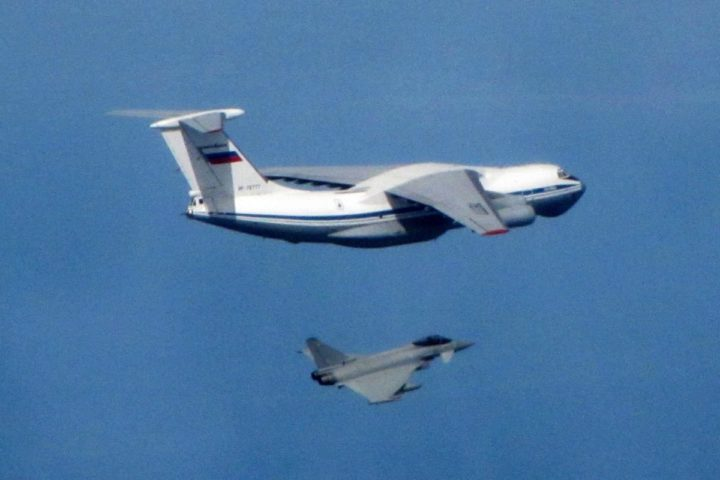 2016-05-12 13:42:14 epa05302344 A handout image made available by the Royal Air Force showing a Royal Air Force Typhoon fighter jet (bottom) near a Russian IL76 Candid aircraft off the baltic coast, 12 May 2016. Royal Air Force Typhoon fighter jets have carried out their first intercept of Russian aircraft in this round of NATO's Baltic Air Policing mission (BAP) after being scrambled from Amari air base in Estonia, to intercept three Russian aircraft approaching the Baltic states. The military transport aircraft identified as a AN-26 'Curl, AN-12 'Cub' and IL-76 'Candid' were intercepted as they were not transmitting a recognised identification code and were unresponsive. EPA/MOD / RAF / CROWN COPYRIGHT/ HANDOUT HANDOUT EDITORIAL USE ONLY/NO SALES