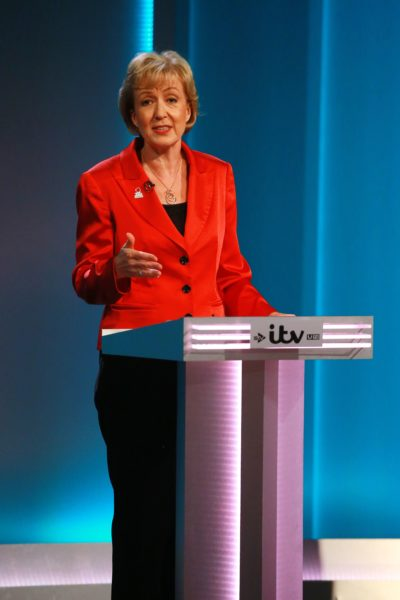 "This handout picture released by ITV shows, British Conservative Party politician Andrea Leadsom representing the 'Leave' campaign during The ITV Referendum Debate in London on June 9, 2016 Brexit campaigners accused the government of trying to rig the EU referendum and threatened legal action on Thursday as former London mayor Boris Johnson squared up for the campaign's first TV debate. The two-hour debate is the second of ITV's major live event European Referendum programmes. / AFP PHOTO / Rex Features / Matt Frost / RESTRICTED TO EDITORIAL USE - MANDATORY CREDIT ""AFP PHOTO / ITV / REX / SHUTTERSTOCK / MATT FROST"" - NO MARKETING NO ADVERTISING CAMPAIGNS - DISTRIBUTED AS A SERVICE TO CLIENTS - NOT TO BE USED AFTER JUNE 30, 2016"