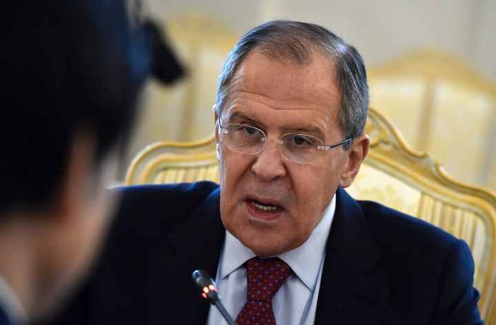 2016-06-13 08:09:06 Russian Foreign Minister Sergei Lavrov speaks during his meting with his South Korean counterpart in Moscow on June 13, 2016. Russian Foreign Minister Sergei Lavrov meets his South Korean counterpart Yun Byung-Se in Moscow on June 13, 2016. / AFP PHOTO / YURI KADOBNOV