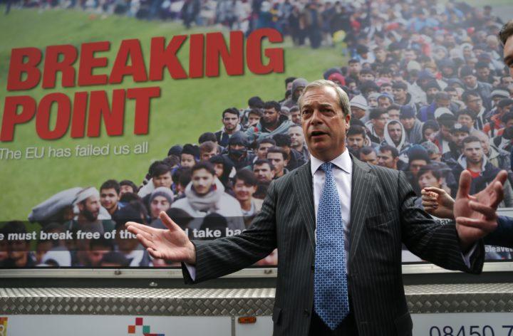 De poster van Ukips Farage (AFP)