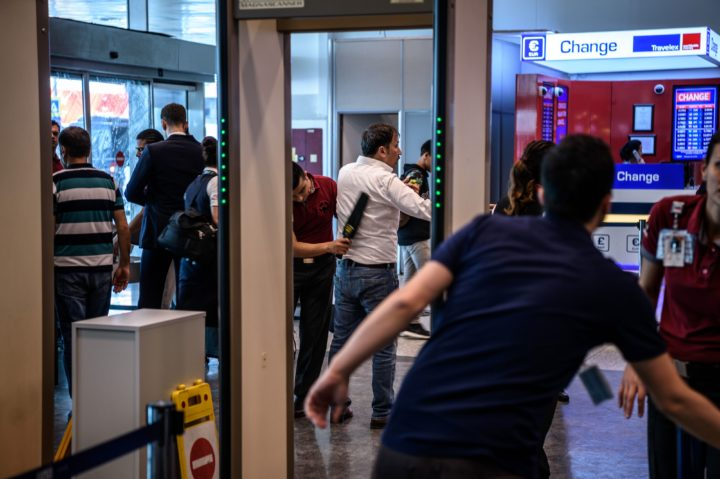 2016-06-29 09:16:56 Security personnel check passengers and employees at the Ataturk airport International arrival terminal check point on June 29, 2016, a day after a suicide bombing and gun attack targeted Istanbul's airport, killing at least 36 people. A triple suicide bombing and gun attack that occurred on June 28, 2016 at Istanbul's Ataturk airport has killed at least 36 people, including foreigners, with Turkey's prime minister saying early signs pointed to an assault by the Islamic State group. / AFP PHOTO / OZAN KOSE