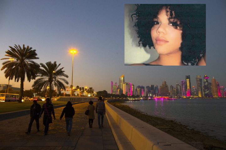 2015-01-28 17:32:56 epa04591688 People walk on the corniche promenade in front of the skyline of Doha's West Bay high rise buildings at sunset, Doha, Qatar, 28 January 2015. The men's Handball World Championship 2015 is taking place in Qatar between 15 January to 01 February. Qatar 2015 via epa/NIC BOTHMA Editorial Use Only/No Commercial Sales