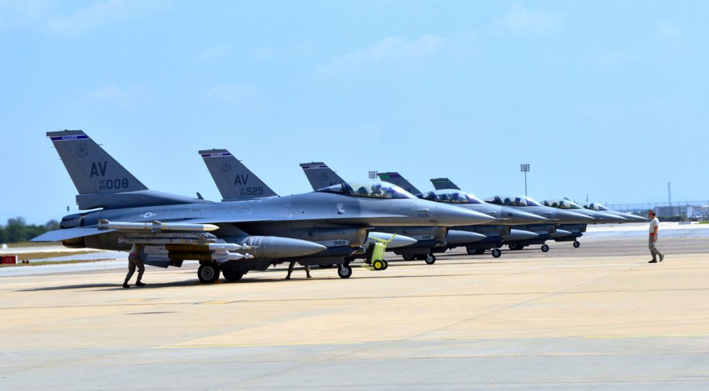 """2015-08-09 00:00:00 This August 9, 2015 US Air Force handout photo shows F-16 Fighting Falcons from Aviano Air Base, Italy as they arrive at Incirlik Air Base, Turkey, in support of Operation Inherent Resolve. The United States has deployed half a dozen F-16 warplanes at a Turkish base to help operations against the Islamic State group, the US mission to NATO said on August 9. """"Six US Air Force F-16 Fighting Falcons deploy to Incirlik Air Base, Turkey, to support the fight against ISIL,"""" it said in a tweet, referring to a variant name for the jihadist group. The United States has already been using drones from Incirlik to strike IS targets in Syria, supporting the Turkish air campaign against the militants. AFP PHOTO / HANDOUT / US AIR FORCE / SR. AIRMAN MICHAEL BATTLES == RESTRICTED TO EDITORIAL USE / MANDATORY CREDIT: """"AFP PHOTO / HANDOUT / US AIR FORCE / SR. AIRMAN MICHAEL BATTLES""""/ NO MARKETING / NO ADVERTISING CAMPAIGNS / DISTRIBUTED AS A SERVICE TO CLIENTS =="""
