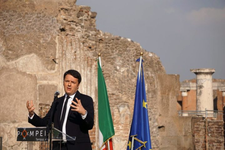 2015-12-24 02:46:30 epa05080039 Italian Prime Ministers Matteo Renzi speaks during his visit to six houses that were restored as part of the Great Pompeii Project, at the Pompeii archeological site, in Pompeii, Italy, 24 December 2015. The six domus restorations were carried out under the 105-million euro Great Pompeii Project funded by the European Commission and aimed at safeguarding the unique UNESCO World Heritage site. The restored domus in the ancient Roman city destroyed in the eruption of Vesuvius in 79 AD can be view by visitors from 26 December 2015 to 10 January 2016 along with other parts of the excavations that are not normally open to the public on two new guided tours. EPA/CESARE ABBATE