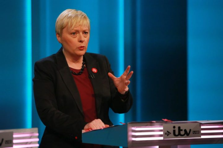 2016-06-09 20:07:02 epa05353954 A handout image released by ITV shows Labour MP Angela Eagle during a ITV televised debate called 'The ITV Referendum Debate' in London, Britain, 09 June 2016. Britons will vote in a referendum on whether to stay in or leave the European Union on 23 June 2016. EPA/MATT FROST/ITV/REX/Shutterstock / HANDOUT Image is made available free of charge for Press Editorial Use up to and including Thursday 30th June 2016. No archive after this date. HANDOUT EDITORIAL USE ONLY/NO SALES HANDOUT EDITORIAL USE ONLY/NO SALES