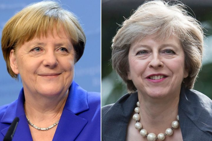 2016-07-12 09:29:46 (COMBO) This combination of pictures created on July 13, 2016 shows (R) Britain's Home Secretary and new leader of the Conservative Party Theresa May arriving in Downing Street in London on July 12, 2016 and German Chancellor Angela Merkel smiling as she addresses the media at the end of the second day of an EU - Summit at the EU headquarters in Brussels on June 29, 2016. Pragmatic, childless pastors' daughters with killer instincts who were long underestimated by their blustering male peers -- the parallels between new British Prime Minister Theresa May and Germany's Angela Merkel are striking at first glance. / AFP PHOTO / OLI SCARFF AND Thierry CHARLIER / TO GO WITH AFP STORY BY DEBORAH COLE