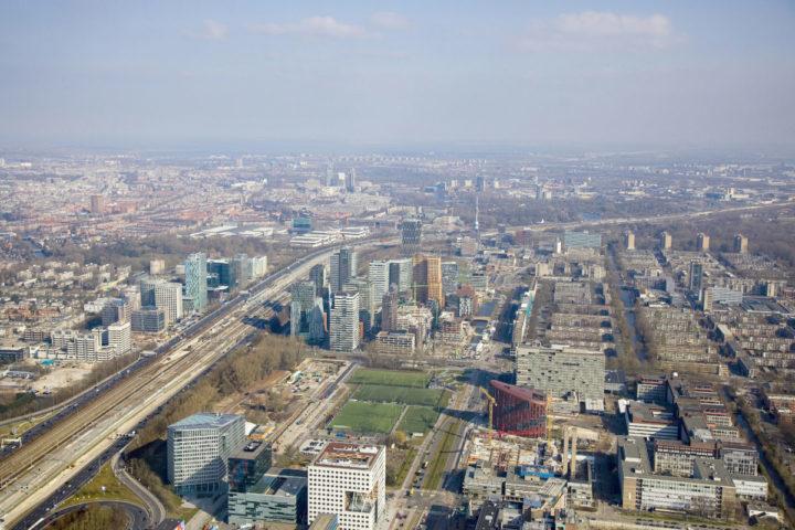 Nederland, Amsterdam, 17 maart 2016. Luchtfoto's van de Amsterdamse Zuidas. foto: Gerhard van Roon/Hollandse Hoogte