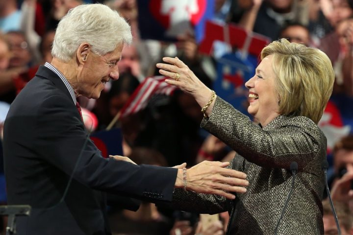 2016-04-26 00:00:00 PHILADELPHIA, PA - APRIL 26: Democratic presidential candidate and former U.S. Secretary of State Hillary Clinton embraces her husband, former President Bill Clinton, at a primary night campaign event April 26, 2016 in Philadelphia, Pennsylvania. Early results indicated Clinton would win Pennsylvania's presidential primary. Win McNamee/Getty Images/AFP == FOR NEWSPAPERS, INTERNET, TELCOS & TELEVISION USE ONLY ==