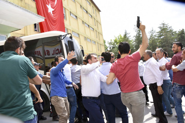 July 19, 2016 - Erzurum, Türkiye - Turkish people attacks judges who is detained by Turkish police who are related to FETO (Fethullah Gulen Terrorist Organisation) at Erzurum, east of Turkey, July 19, 2016. Erzurum is the home town of Fethullah Gulen. A millitary junta in Turkish Army which is said to be connected with Fetullah Gulen Terrorist Organisation made a milltary coup attempt on July 15, 2016. (Credit Image: © Depo Photos via ZUMA Wire)