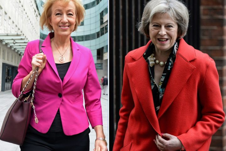 2016-06-30 15:37:56 (FILES) (COMBO) This combination of pictures created on July 5, 2016 shows the two remaining candidates for the Conservative leadership (L-R) Andrea Leadsom leaving the BBC television centre in London on July 3, 2016 and British Home Secretary Theresa May leaving 10 Downing Street in London on February 22, 2016. Conservative lawmakers in Britain Thursday selected interior minister Theresa May and junior energy minsiter Andrea Leadsom as the two candidates to be prime minister and the choice will now go to party members. May won 199 votes out of the party's 329 MPs, while Leadsom won 84 votes, a party official said, meaning third challenger Michael Gove -- Britain's justice minister -- has been rejected. / AFP PHOTO / CHRIS J RATCLIFFE / XGTY