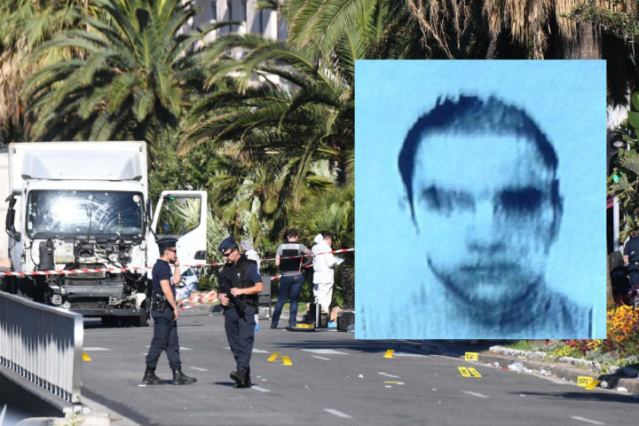 "Forensics officers and policemen look for evidences near a truck on the Promenade des Anglais seafront in the French Riviera town of Nice on July 15, 2016, after it drove into a crowd watching a fireworks display. An attack in Nice where a man rammed a truck into a crowd of people left 84 dead and another 18 in a ""critical condition"", interior ministry spokesman Pierre-Henry Brandet said Friday. An unidentified gunman barrelled the truck two kilometres (1.3 miles) through a crowd that had been enjoying a fireworks display for France's national day before being shot dead by police. / AFP PHOTO / ANNE-CHRISTINE POUJOULAT"