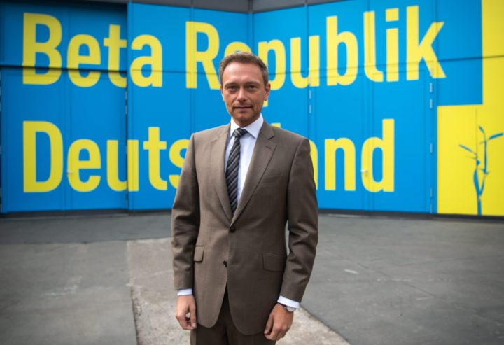 2016-04-23 00:00:00 epa05273099 Chairman of the Free Democratic Party of Germany (FDP) Christian Lindner poses in front of a wall with the party annual congress theme 'Beta Republic of Germany', during the party annual congress in Berlin, Germany, 23 April 2016. Around 660 delegates discuss the two-day 67th Annual Congress of the FDP under the slogan 'Beta Republic of Germany'. EPA/BERND VON JUTRCZENKA