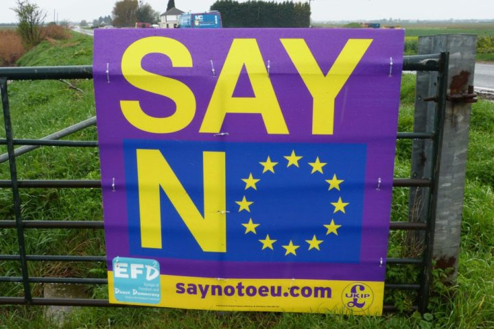 2016-04-15 10:14:48 A poster urging people to vote to leave the European Union in the uncoming referendum is seen in Peterborough, eastern England, on April 15, 2016. From the multicultural crucible of East London's football terraces to historic towns grappling with strained public services, Britain's immigration surge has dominated the EU membership referendum debate. / AFP PHOTO / James PHEBY