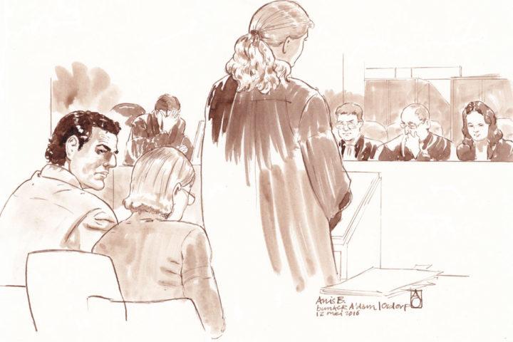 2016-05-12 16:50:00 AMSTERDAM - Rechtbanktekening van Franse terreurverdachte Anis B. tijdens de behandeling van zijn zaak in de bunker in Amsterdam. B. is volgens de Franse autoriteiten een kompaan zijn van de onlangs gearresteerde terreurverdachte Reda Kriket, die in de Parijse voorstad Boulogne-Billancourt is opgepakt. ANP ALOYS OOSTERWIJK