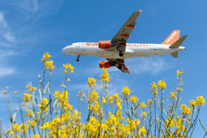 2016-06-06 08:57:52 An airplane of the British airline Easyjet prepares to land to Barcelona's airport on June 6, 2016. / AFP PHOTO / JOSEP LAGO