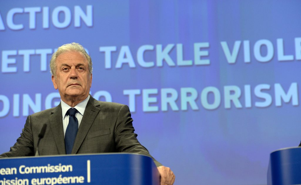 2016-06-14 10:54:00 European Union Commissioner for Migration, Home Affairs and Citizenship Dimitris Avramopoulos gives a press conference about EU actions to support the prevention of radicalisation leading to violent extremism at the European Union Commission headquarter in Brussels, June 14, 2016. / AFP PHOTO / THIERRY CHARLIER