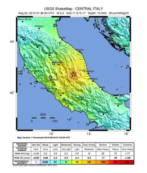 epa05508072 A handout shakemap released by the US Geological Survey (USGS) shows the location of a 6.2 magnitude earthquake that struck at a depth of 10km South East of Norcia, Italy, 24 August 2016. There were no immediate reports of damage or injuries. EPA/USGS / HANDOUT EDITORIAL USE ONLY