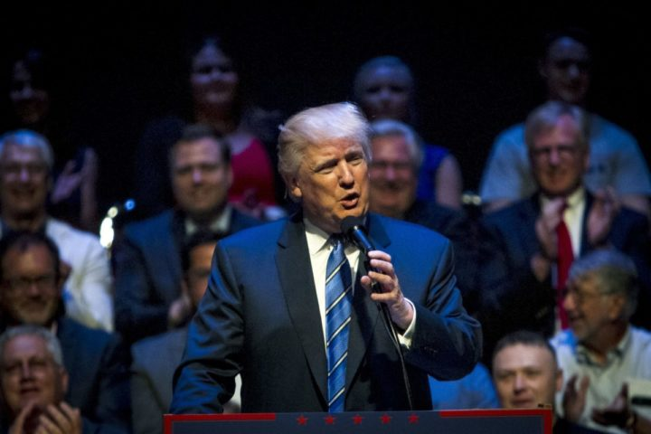 2016-08-04 00:00:00 PORTLAND, ME - AUGUST 04: Republican Presidential candidate Donald Trump speaks at the Merrill Auditorium on August 4, 2016 in Portland, Maine. Sarah Rice/Getty Images/AFP == FOR NEWSPAPERS, INTERNET, TELCOS & TELEVISION USE ONLY ==