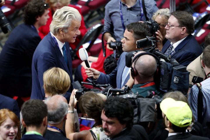 2016-07-19 16:42:43 epa05432437 Dutch politician and the founder and leader of the Dutch Party for Freedom Geert Wilders on the floor of the Quicken Loans Arena on the second day of the 2016 Republican National Convention in Cleveland, Ohio, USA, 19 July 2016. The four-day convention is expected to end with Donald Trump formally accepting the nomination of the Republican Party as their presidential candidate in the 2016 election. EPA/SHAWN THEW
