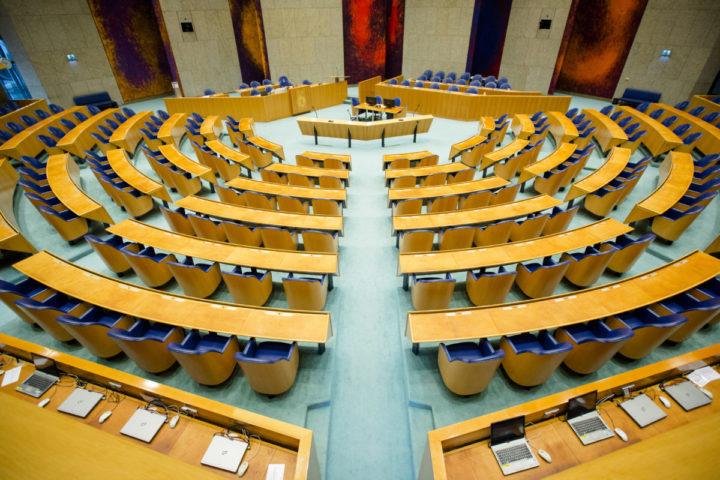 2014-09-17 09:44:07 DEN HAAG - Een lege plenaire zaal voorafgaand aan de Algemene Politieke Beschouwingen. ANP BART MAAT