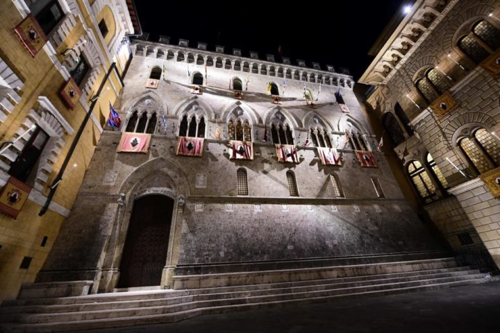 2016-07-01 23:15:22 This picture taken on July 1, 2016 shows the headquarters of Monte Dei Paschi di Siena bank on in Siena, in the Italian region of Tuscany. Italy's number-three bank, Banca Monte dei Paschi di Siena, took a hammering on the stock market on July 4, 2016 as the European Central Bank told it to slash its large bad-debt burden. Investors, many of them shaken by Britain's vote to leave the European Union, are fretting over the fragile balance sheets of debt-laden Italian banks. / AFP PHOTO / GIUSEPPE CACACE
