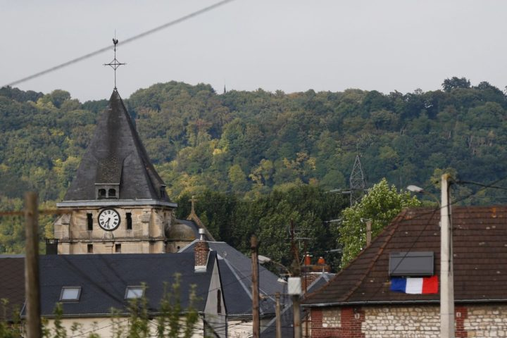 "2016-07-26 19:33:05 This photo taken on July 26, 2016 shows the steeple of the Saint-Etienne church of Saint-Etienne-du-Rouvray, where a priest was killed earlier today in the latest of a string of attacks against Western targets claimed by or blamed on the Islamic State jihadist group. French President Francois Hollande said that two men who attacked a church and slit the throat of a priest had ""claimed to be from Daesh"", using the Arabic name for the Islamic State group. Police said they killed two hostage-takers in the attack in the Normandy town of Saint-Etienne-du-Rouvray, 125 kilometres (77 miles) north of Paris. / AFP PHOTO / CHARLY TRIBALLEAU"