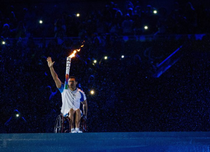 2016-09-08 21:22:55 epa05529674 A handout image supplied by OIS/IOC on 08 September 2016 of Brazilian Paralympic swimmer Clodoaldo Silva on his way to light the Cauldron at the Opening Ceremony of the Rio 2016 Paralympic Games at the Maracana Stadium, in Rio de Janeiro, Brazil, 07 September 2016. The Rio 2016 Paralympics Games will run through 18 September. EPA/Al Tielemans for OIS/IOC HANDOUT EDITORIAL USE ONLY/NO SALES