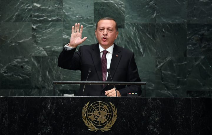 2016-09-20 14:52:00 Turkey's President Recep Tayyip Erdogan addresses the 71st session of the United Nations General Assembly at the UN headquarters in New York on September 20, 2016. / AFP PHOTO / Jewel SAMAD
