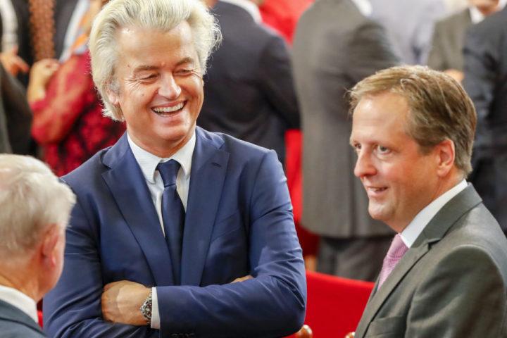 2016-09-20 00:00:00 DEN HAAG - PVV Leider Geert Wilders en D66 Fractie voorzitter Alexander Pechtold op Prinsjesdag in de Ridderzaal tijdens de troonrede van koning Willem-Alexander. ANP SANDER KONING