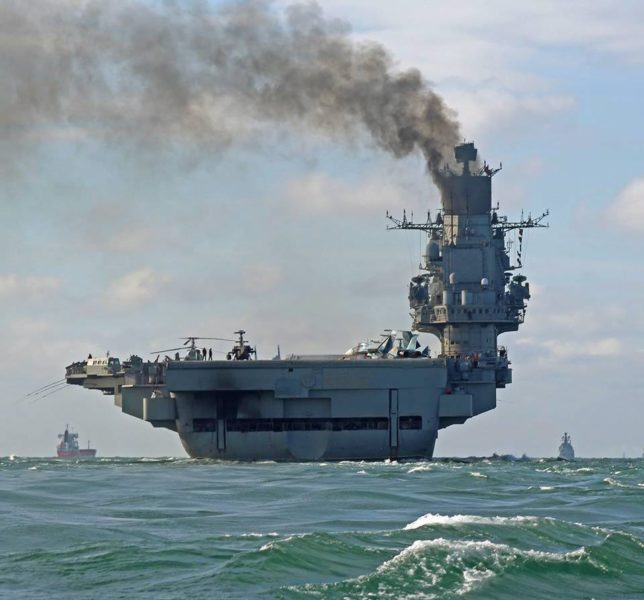 epa05596278 A handout photograph made available by Dover Marina.com on 21 October 2016 showing Russian aircraft carrier Admiral Kuznetsov in the English Channel, 21 October 2016. The Russian Task Group, which includes the sole Russian aircraft carrier, Admiral Kuznetsov, the nuclear powered Kirov Class Battlecruiser, Pyotr Velikiy and two Udaloy Class Destroyers, Vice Admiral Kulakov and Severomorsk sailed from Russia on Saturday 15 October to join the Russian anti-Daesh military operations in Syria. EPA/DOVER MARINA.COM / HANDOUT MANDTAORY CREDIT: DOVER MARINA.COM HANDOUT EDITORIAL USE ONLY/NO SALES