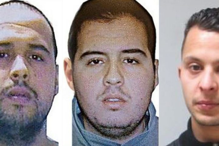 """2016-03-23 00:00:00 (COMBO) This combination of handout pictures obtained by AFP on March 23, 2016 shows Khalid (L) and Ibrahim (R) El Bakraoui, the two Belgian brothers identified as the suicide bombers who struck Brussels on March 22, 2016, as a manhunt for a third assailant in Belgium's bloodiest terror assault gained pace. Two suicide blasts hit Brussels' Zaventem airport on March 22, 2016 morning followed soon after by a third on a train at Maalbeek station, close to the European Union's institutions, just as rush-hour commuters were heading to work. The triple blasts that killed some 30 people and left around 250 injured was claimed by the Islamic State jihadist group. XGTY RESTRICTED TO EDITORIAL USE - MANDATORY CREDIT """"AFP PHOTO / OFF"""" NO MARKETING NO ADVERTISING CAMPAIGNS - DISTRIBUTED AS A SERVICE TO CLIENTS"""