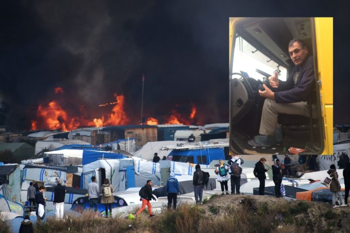 "2016-10-26 12:28:44 People watch as smoke rises from fires at the ""Jungle"" migrant camp in Calais, northern France, on October 26, 2016, during a massive operation to clear the squalid settlement where 6,000-8,000 people have been living in dire conditions. Fresh fires broke out on October 26 in the ""Jungle"" camp on the second day of operations to tear down the squalid settlement in northern France, sending migrants fleeing with their meagre belongings. Huge clouds of black smoke billowed over the sprawling camp near Calais where up to 4,000 migrants remain as authorities continue to evacuate residents and dismantle their makeshift dwellings. / AFP PHOTO / DENIS CHARLET"