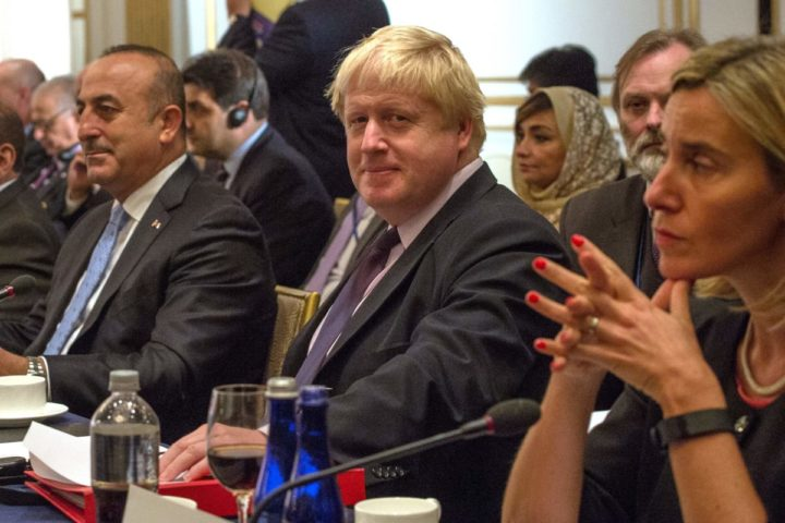 2016-09-22 19:28:03 (L-R) Turkish Foreign Minister Mevlut Cavusoglu, British Foreign Minister Boris Johnson and EU High Representative Federica Mogherini attend the International Syria Support Group meeting, September 22, 2016 in New York. / AFP PHOTO / Bryan R. Smith