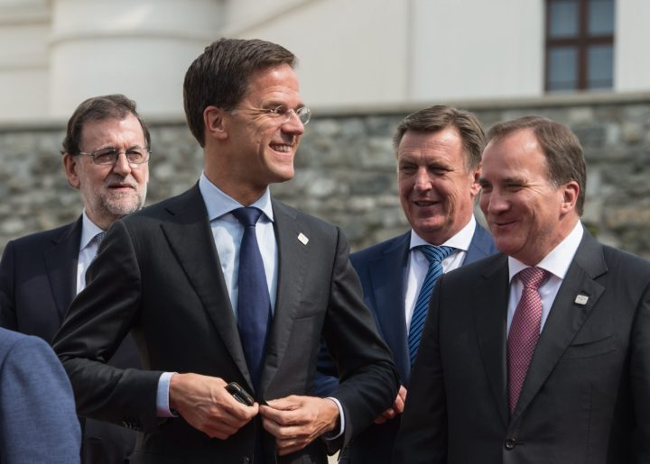 2016-09-16 12:01:27 epa05542355 (L-R) Spanish acting Prime Minister Mariano Rajoy, Dutch Prime Minister Mark Rutte, Latvia's Prime Minister Maris Kucinskis and Sweden's Prime Minister Stefan Lofven prepare to pose at a group photo call at the Bratislava castle during the Bratislava EU summit, an informal meeting of the 27 heads of state or government, in Bratislava, Slovakia, 16 September 2016. European Union leaders met to discuss a new strategy and future of the European Union after the recent Brexit referendum in Britain. EPA/FILIP SINGER