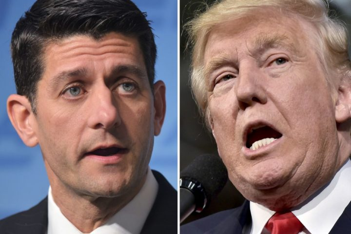 """2016-10-11 10:39:34 This combination of photos shows Republican presidential nominee Donald Trump(R) on October 10, 2016 and Speaker of the House Paul Ryan, R-WI, on June 22, 2016. US House Speaker Paul Ryan, the nation's top elected Republican, told lawmakers October 10, 2016 he will no longer """"defend"""" or campaign with presidential nominee Donald Trump, focusing instead on maintaining his party's majority in Congress. / AFP PHOTO / DESK"""
