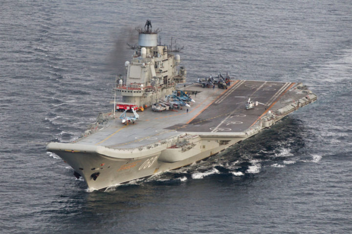 "2016-10-17 13:07:25 This October 17, 2016 Norwegian Armed Forces handout image shows the Russian aircraft carrier Admiral Kuznetsov passing the Norwegian island of Andoya in international waters on its way to the mediterranean. The Admiral Kuznetsov aircraft carrier the nuclear powered battleship Pyotr Velikiy and six other vessels were photographed by Norway' s Lockheed P-3 Orion surveillance aircraft. / AFP PHOTO / forsvaret / Forsvaret / RESTRICTED TO EDITORIAL USE - MANDATORY CREDIT ""AFP PHOTO / Forsvaret "" - NO MARKETING - NO ADVERTISING CAMPAIGNS - DISTRIBUTED AS A SERVICE TO CLIENTS"