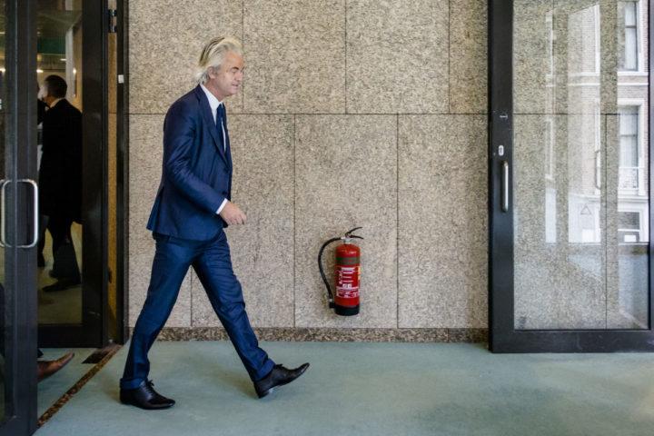2016-10-04 14:54:04 DEN HAAG - PVV-fractievoorzitter Geert Wilders tijdens het Vragenuur in de Tweede Kamer. ANP BART MAAT